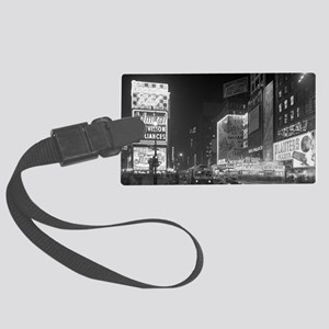 Times Square at Night, 1953 Large Luggage Tag