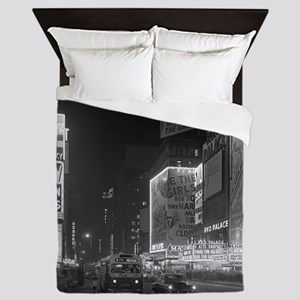 Times Square at Night, 1953 Queen Duvet