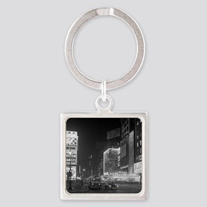 Times Square at Night, 1953 Square Keychain