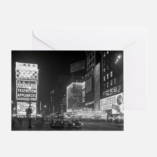 Times Square at Night, 1953 Greeting Card