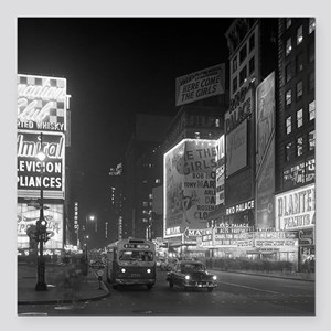 """Times Square at Night, 1 Square Car Magnet 3"""" x 3"""""""