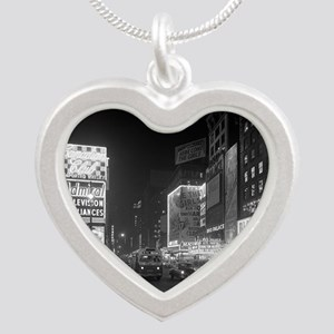 Times Square at Night, 1953 Silver Heart Necklace