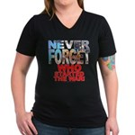 Never Forget Who Wmns V-Neck Dk Tee