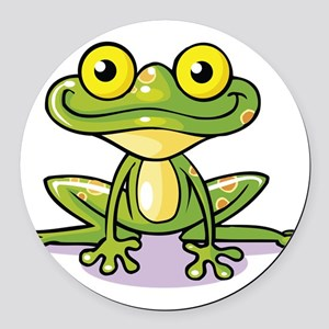 Cute Green Frog Round Car Magnet