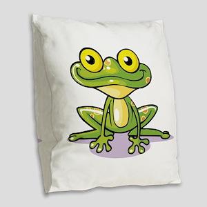 Cute Green Frog Burlap Throw Pillow