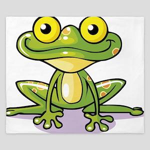 Cute Green Frog King Duvet