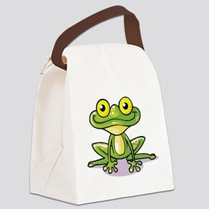 Cute Green Frog Canvas Lunch Bag