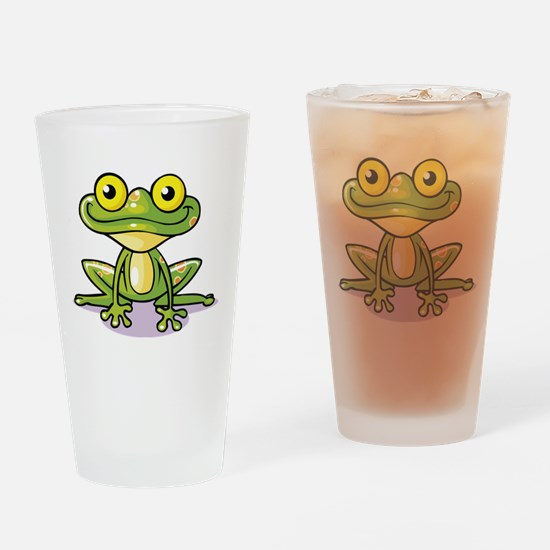 Cute Green Frog Drinking Glass