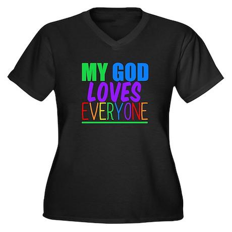 My God Loves Women's Plus Size V-Neck Dark T-Shirt