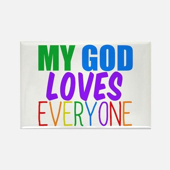 My God Loves Rectangle Magnet