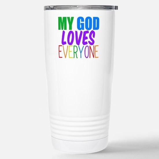 My God Loves Stainless Steel Travel Mug