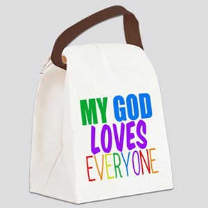 My God Loves Canvas Lunch Bag