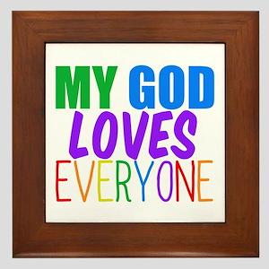 My God Loves Framed Tile