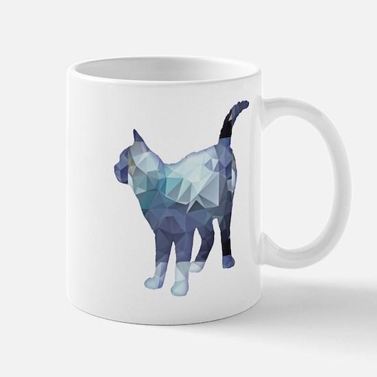 Mosaic Polygon Standing Tabby Cat Blue Grey Mugs
