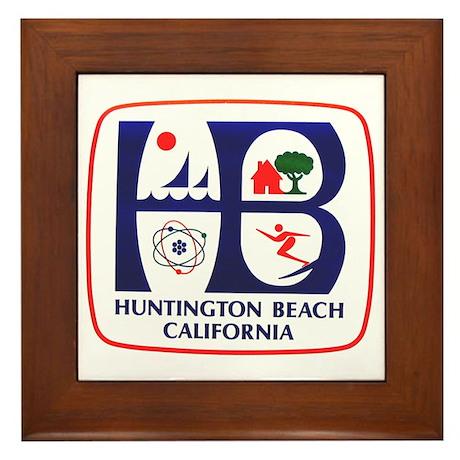 Huntington Beach California Framed Tile