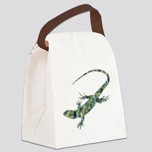 Mosaic Polygon Green Lizard Canvas Lunch Bag