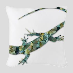 Mosaic Polygon Green Lizard Woven Throw Pillow