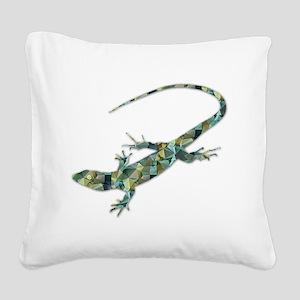 Mosaic Polygon Green Lizard Square Canvas Pillow