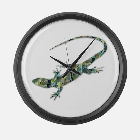 Mosaic Polygon Green Lizard Large Wall Clock