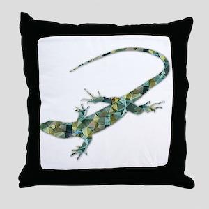 Mosaic Polygon Green Lizard Throw Pillow