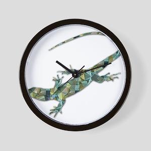 Mosaic Polygon Green Lizard Wall Clock
