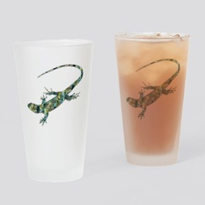 Mosaic Polygon Green Lizard Drinking Glass