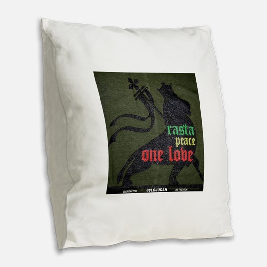 Rasta Peace One Love Burlap Throw Pillow