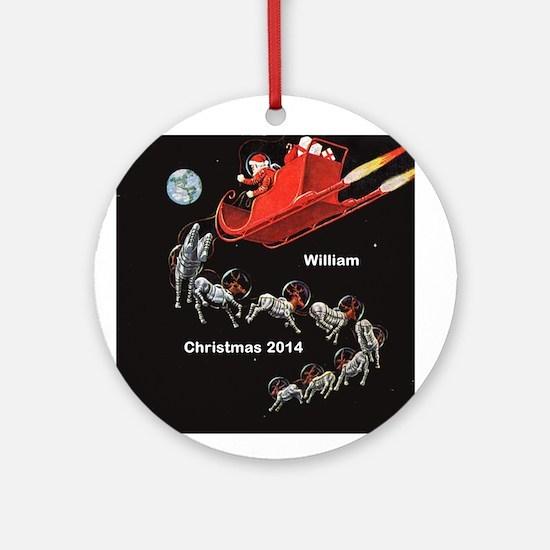 Personalized Santa In Space Ornament (round)
