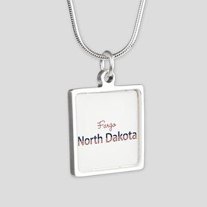 Custom North Dakota Silver Square Necklace