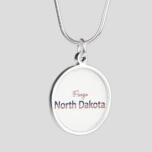 Custom North Dakota Silver Round Necklace