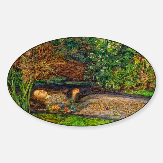 Millais: Drowning Ophelia Sticker (Oval)