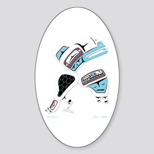 White Raven Oval Sticker