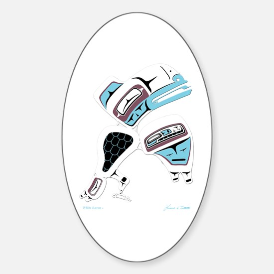 White Raven Oval Decal