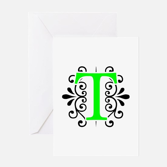 MONOGRAM T FLORESCENT GREEN & BLACK Greeting Cards