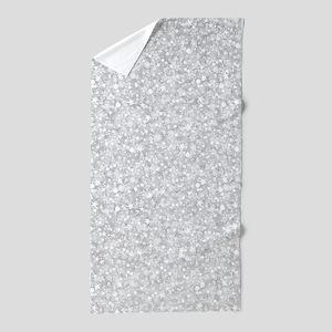 Silver Gray Glitter Sparkles Beach Towel