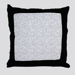 Silver Gray Glitter Sparkles Throw Pillow