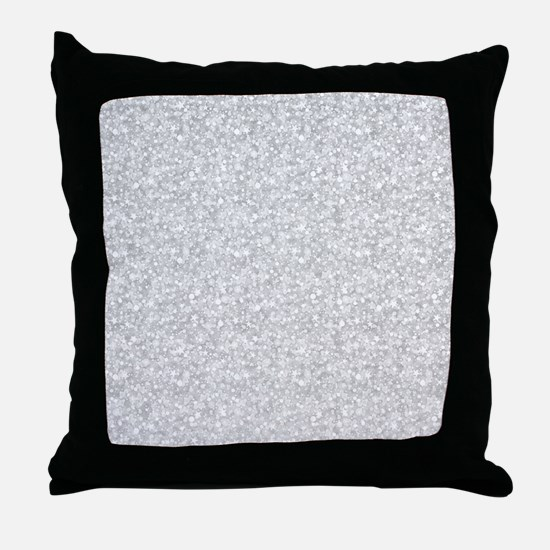 Silver Gray Glitter Sparkles Throw Pillow