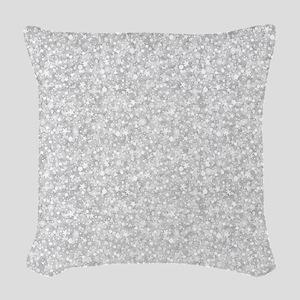Silver Gray Glitter Sparkles Woven Throw Pillow