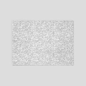 Silver Gray Glitter Sparkles 5 X7 Area Rug