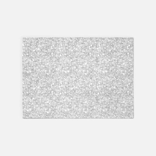Silver Gray Glitter Sparkles 5'x7'Area Rug