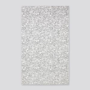 Silver Gray Glitter Sparkles 3'x5' Area Rug