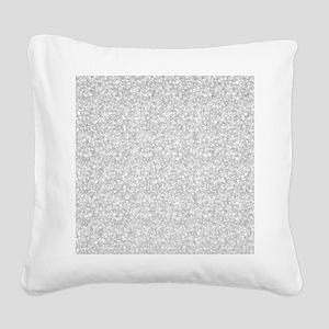Silver Gray Glitter Sparkles Square Canvas Pillow