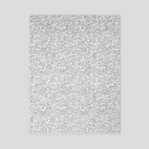 Silver Gray Glitter Sparkles Twin Duvet