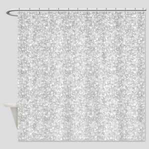 Silver Gray Glitter Sparkles Shower Curtain