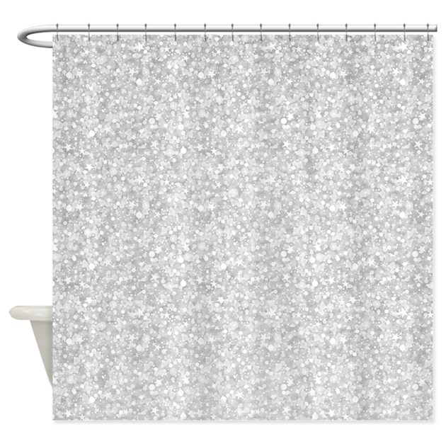 Silver Gray Glitter Sparkles Shower Curtain By Artonwear