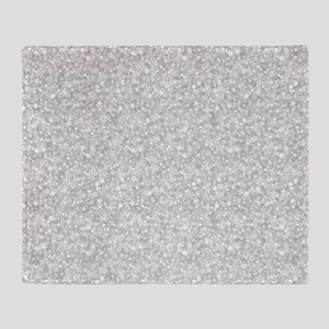 Silver Gray Glitter Sparkles Throw Blanket