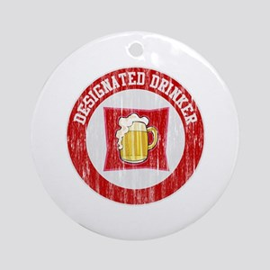 Designated Drinker Distressed Look Red Ornament (R