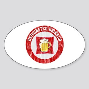 Designated Drinker Distressed Look Red Sticker (Ov