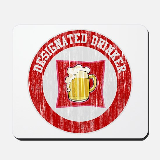 Designated Drinker Distressed Look Red Mousepad