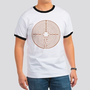 Brown Chartres Labyrinth Ringer T
